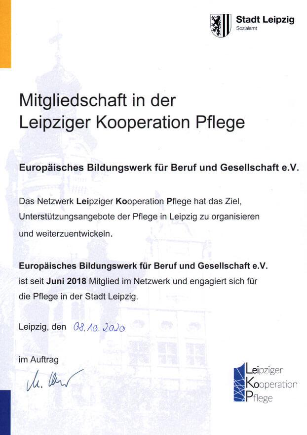 Zertifikat der Mitgliedschaft Leipziger Kooperation Pflege (LeiKoP)